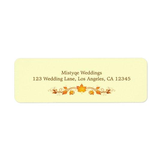 Autumn Foliage Wedding Return Address Label
