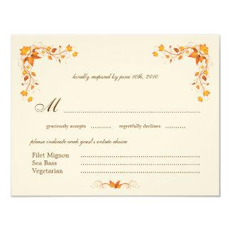 Autumn Foliage Wedding RSVP Card with Envelope