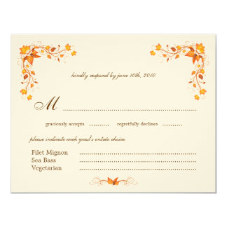 Autumn Foliage Wedding RSVP Card with Envelope 11 Cm X 14 Cm Invitation Card