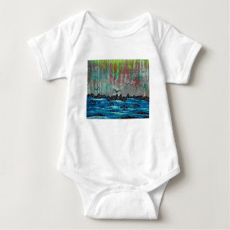 Autumn forest by river baby bodysuit