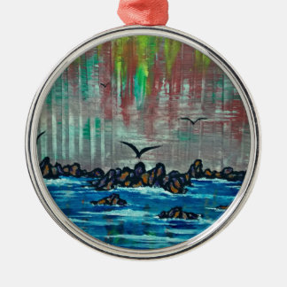 Autumn forest by river christmas ornament
