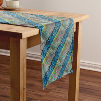 Autumn forest by river short table runner