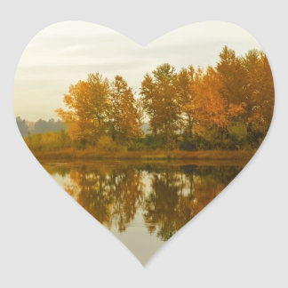 Autumn Forest by the River Heart Sticker
