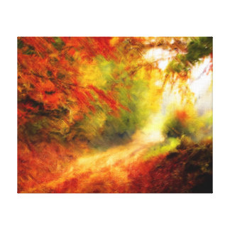 Autumn Forest Pathway Reds & Gold from Watercolour Canvas Print