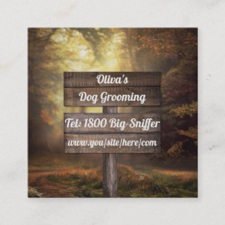 Autumn Forest Sign Square Business Card