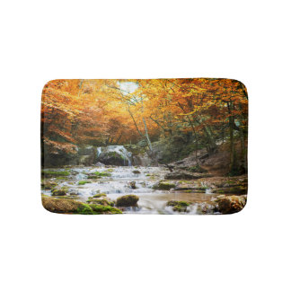 Autumn Forest Waterfall Bath Mats