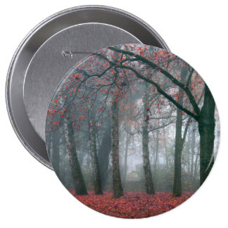 Autumn Forest with Red Leaves.beautiful landscape 10 Cm Round Badge