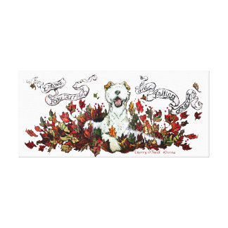 Autumn Fox Terrier Stretched Canvas Print