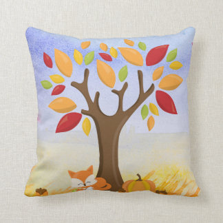 Autumn Fox with Pumpkin Cushion