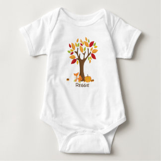 Autumn Fox with Pumpkin Personalized Baby Bodysuit