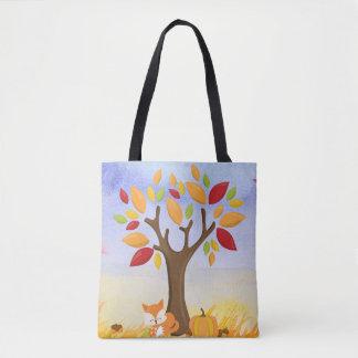 Autumn Fox with Pumpkin Tote Bag