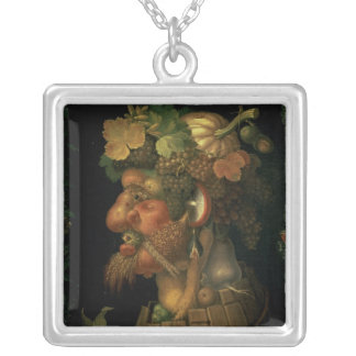 Autumn, from a series depicting the four silver plated necklace