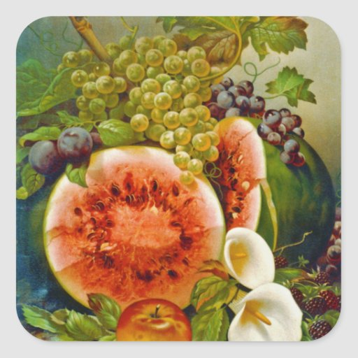 Autumn Fruits c1860 Square Stickers
