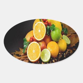 Autumn fruits harvest joy oval sticker