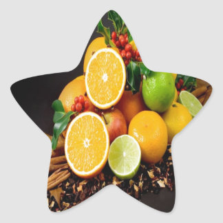 Autumn fruits harvest joy star sticker