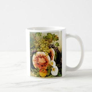Autumn Fruits Watermelon Grapes Peaches Basic White Mug