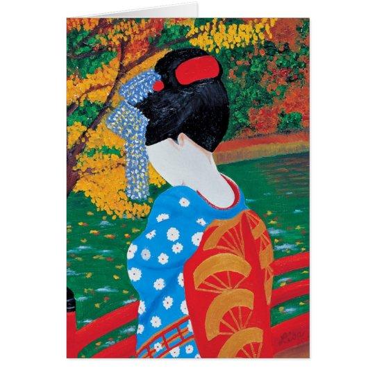 Autumn Geisha Greeting Card