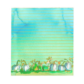 Autumn Ghost Pumpkins Watercolor Lined Notepad