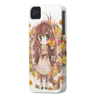 Autumn girl and cute squirell iPhone 4 cover