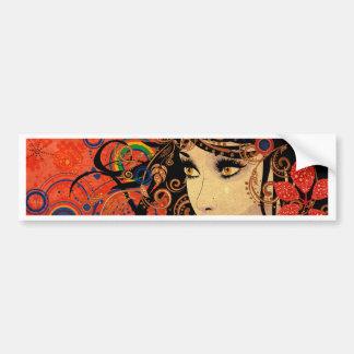 Autumn Girl with Floral Grunge 2 Bumper Sticker