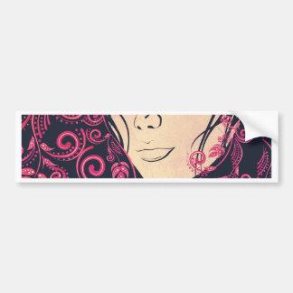 Autumn Girl with Floral Grunge 3 Bumper Sticker