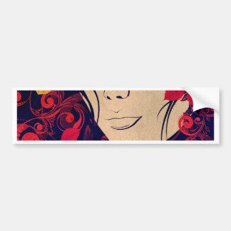 Autumn Girl with Floral Grunge Bumper Sticker