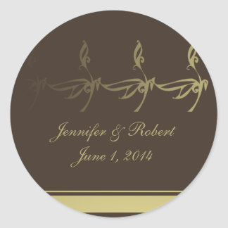 Autumn Glamour in Chocolate Brown and Gold Classic Round Sticker