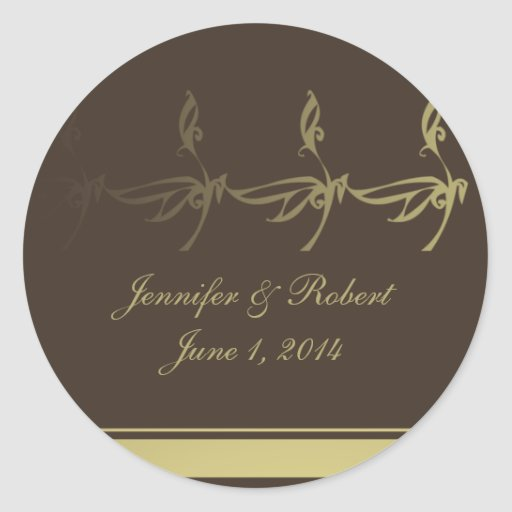 Autumn Glamour in Chocolate Brown and Gold Round Sticker