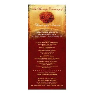Autumn Glory Red Tree Wedding Program Customised Rack Card