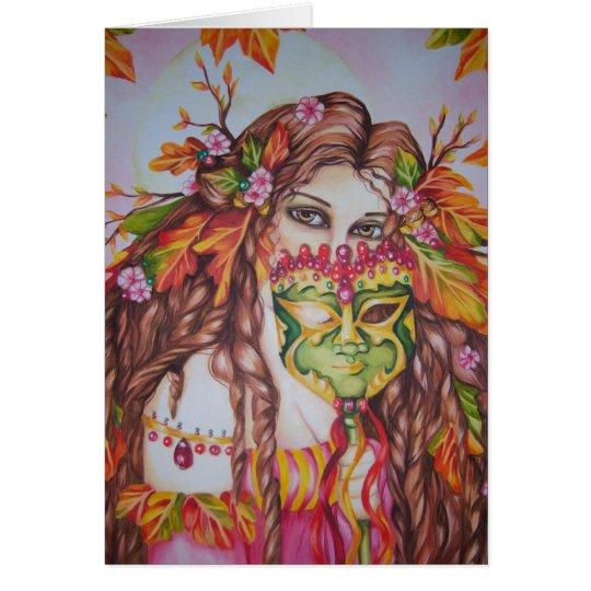 Autumn Goddess Harvest Moon Masquerade Notecard