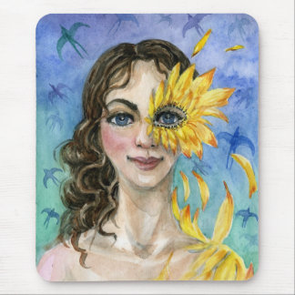 Autumn goddess sunflower mouse pad