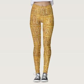Autumn Gold Alphabet Leggings