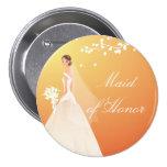 Autumn Gold Maid of Honour Bridal Party Button