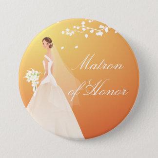 Autumn Gold Matron Honor Bridal Party Button