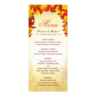 Autumn Gold Red Fall Leaves Wedding Menu Template Rack Card Template