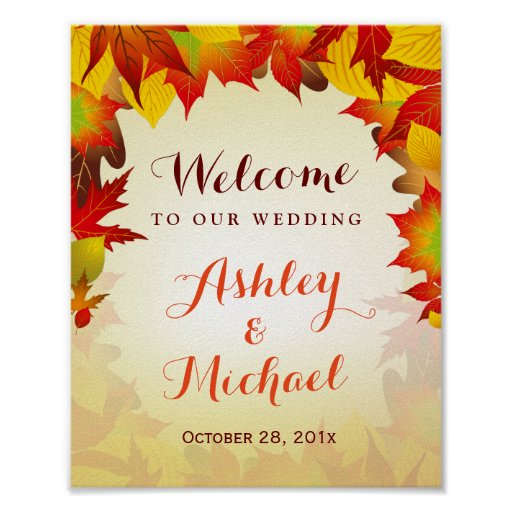 Autumn Gold Red Leaves Fall Wedding Reception Sign