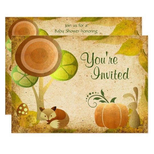 Autumn Gold Woodland Fox Bunny Baby Shower Invite