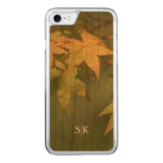 Autumn Golden Maple Leaf Monogram Handmade Carved iPhone 8/7 Case