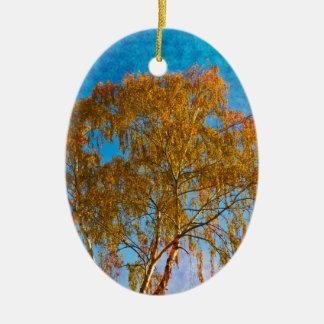 Autumn golden tree christmas ornament
