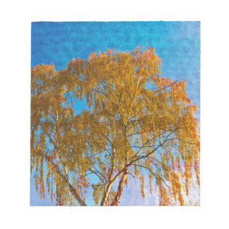 Autumn golden tree notepad