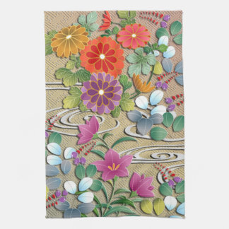 Autumn grasses and clouds tea towel