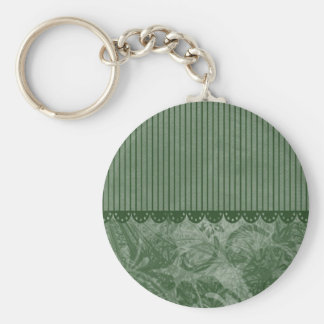 Autumn Green Floral Card Basic Round Button Key Ring