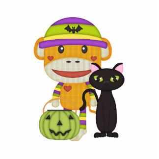 Autumn Halloween Retro Sock Monkey Photo Sculpture