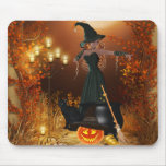 Autumn Halloween Witch Mouse Pad
