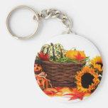 Autumn Harvest Halloween Pumpkins Fall Sunflowers Basic Round Button Key Ring