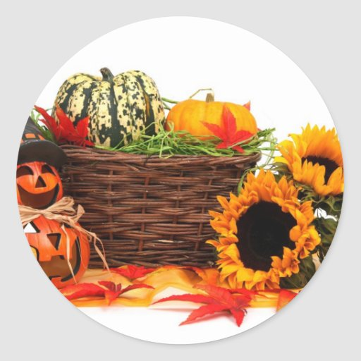 Autumn Harvest Halloween Pumpkins Fall Sunflowers Round Stickers