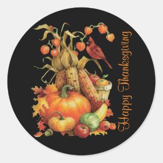 Autumn Harvest Happy Thanksgiving Black Stickers