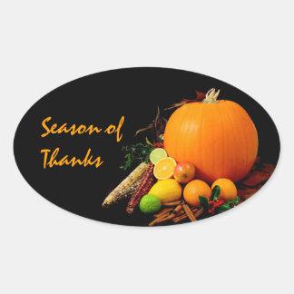Autumn Harvest Oval Sticker