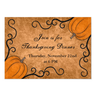 Autumn harvest pumpkin Thanksgiving dinner 5x7 13 Cm X 18 Cm Invitation Card