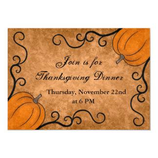 Autumn harvest pumpkin Thanksgiving dinner 5x7 13 Cm X 18 Cm Invitation Card